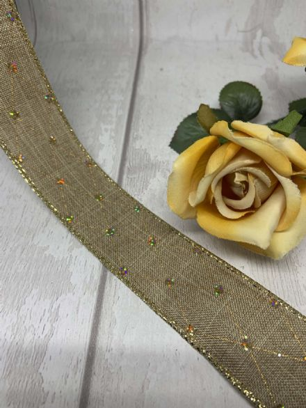 Hessian gold thread wire edge ribbon